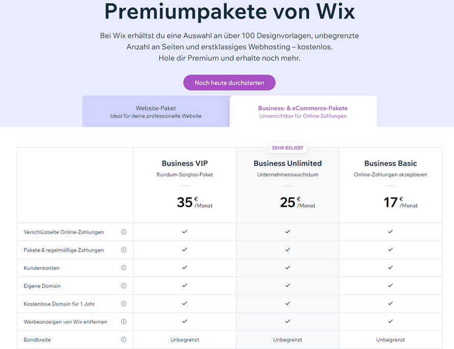Wix_preise