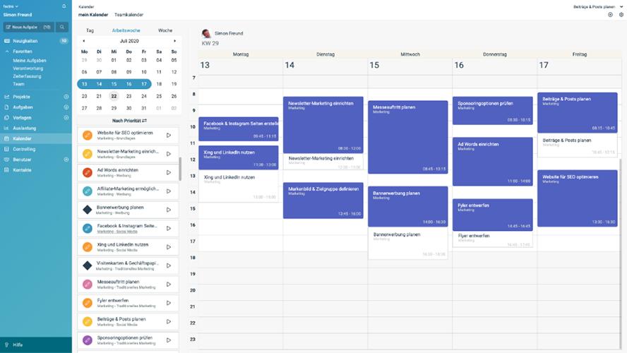 Kalender mit gebuchten Leistungen und geplanten Terminen