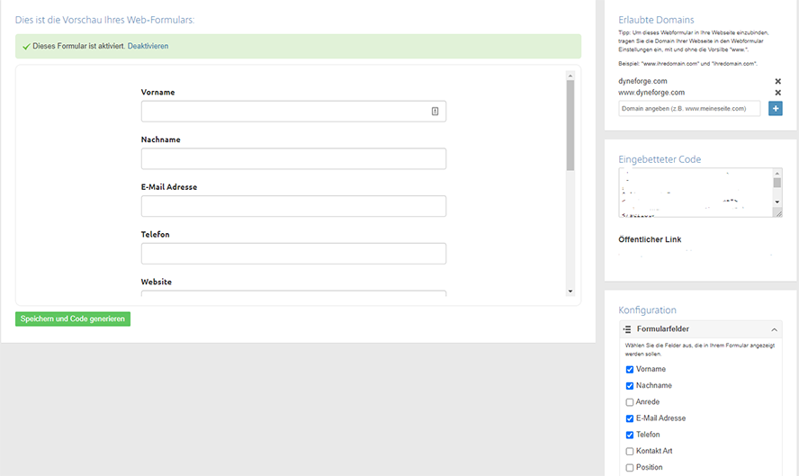 Podio CRM Webformular