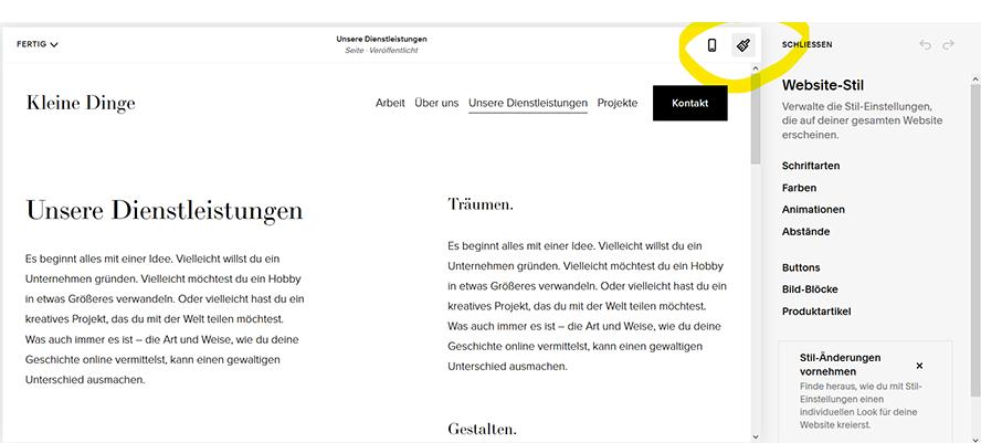 Webseiten-Design-anpassen