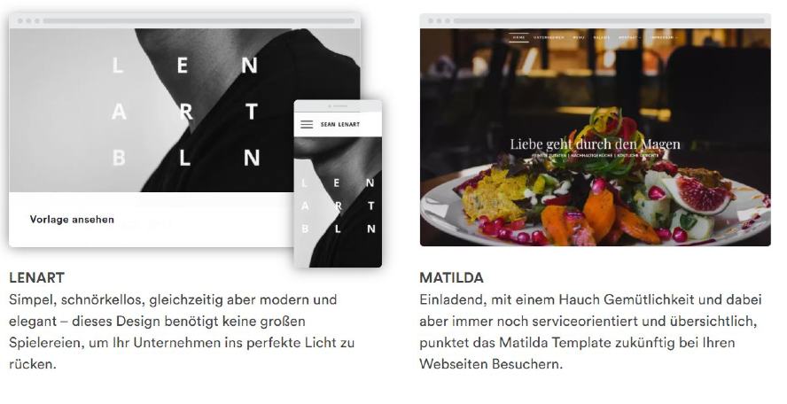 web4business Design Vorlagen Homepage