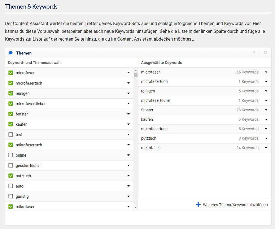 Sistrix Conetent Assistent Themen und Keywords