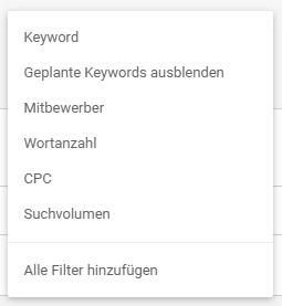 Keyword-Recherche Filter