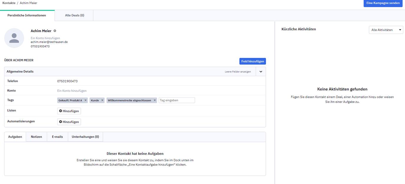 Kontaktseite in ActiveCampaign
