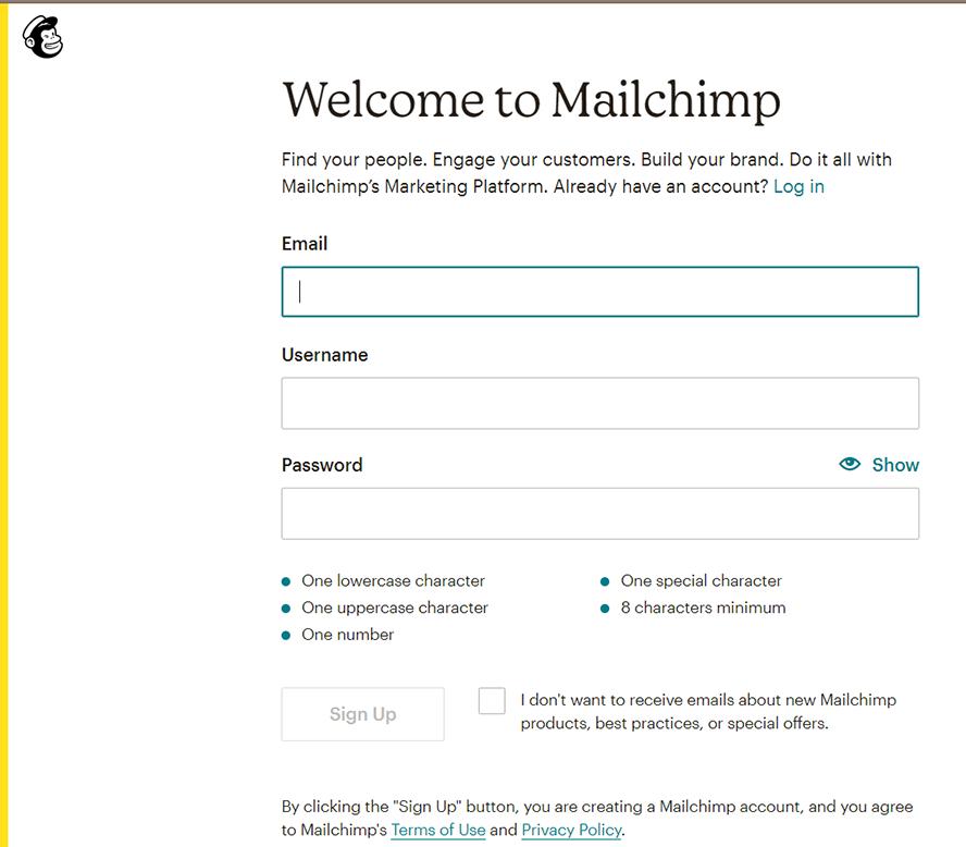 Das Anmeldeformualr von MailChimp