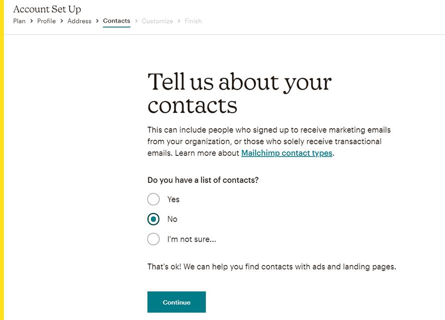 Account Set Up, Kontakte hinzufügen