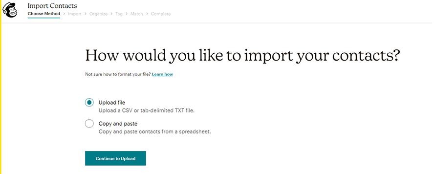 Wie möchtest Du Deine Kontakte importieren?