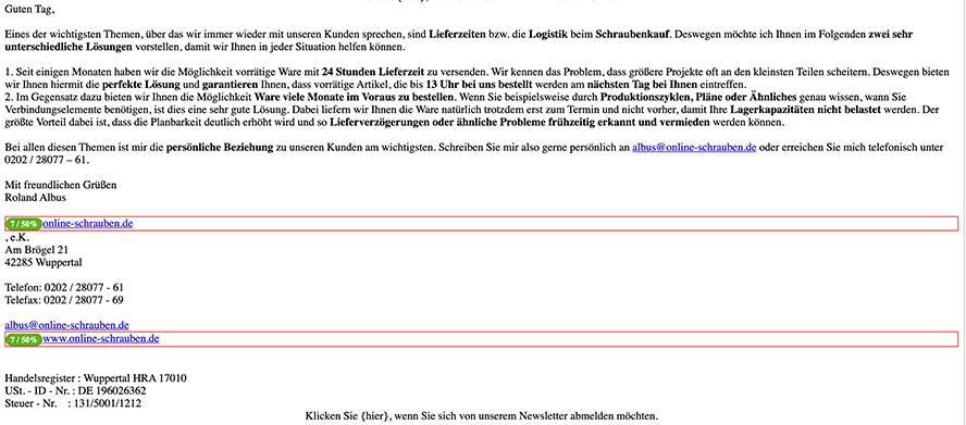 Sendinblue Beispiel für eine persönlich gestaltete Mail