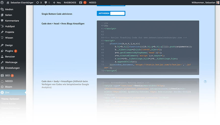 Bild von Hotjar Integration in WordPress