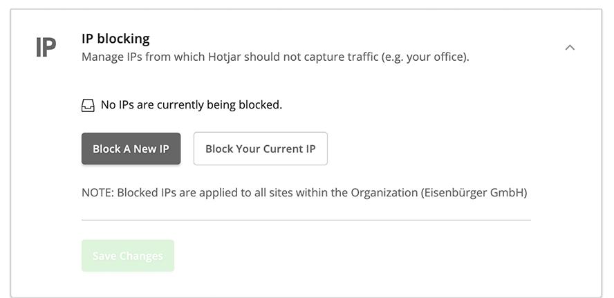 Das IP Blocking bei hotjar