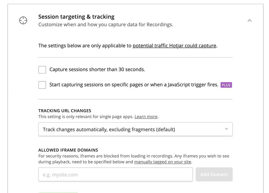 Screenshot bildet Session Targeting und tracking von Hotjar ab