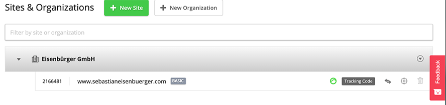 Screenshot Sites und Organizations bei Hotjar