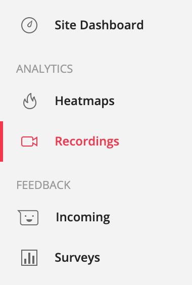 Screenshot der Features von Hotjar