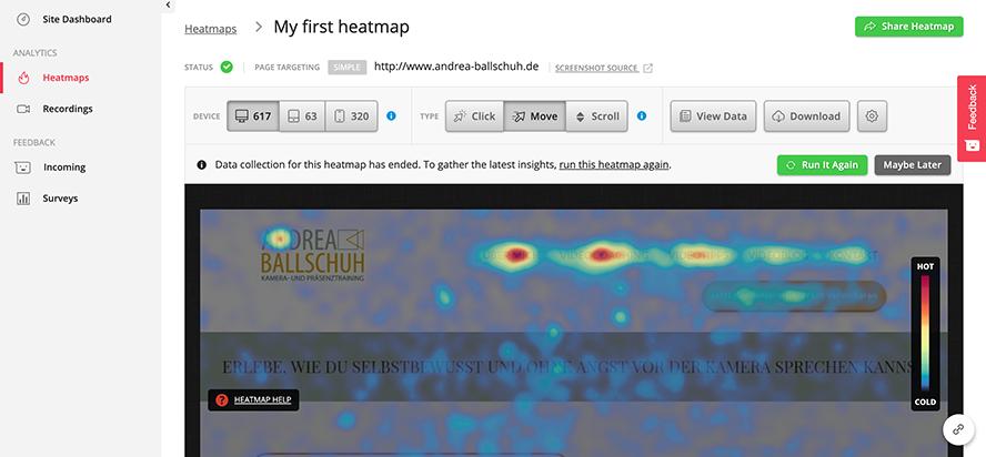 Heatmap hotjar Nachvollziehen der Mausbewegungen