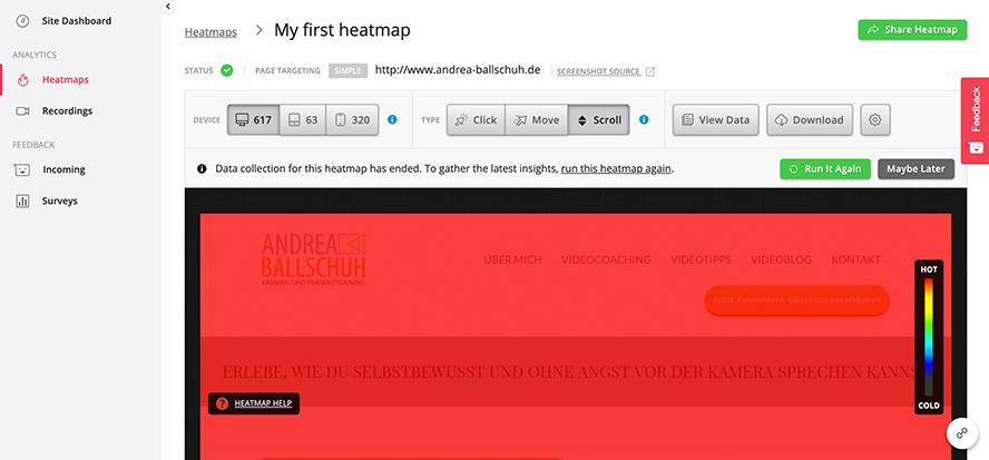 Heatmp hotjar Abbildung der Scrollbewegungen