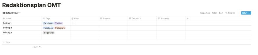 Der Redaktionsplan in Notion als Tabelle, Kanban-Board oder Kalender