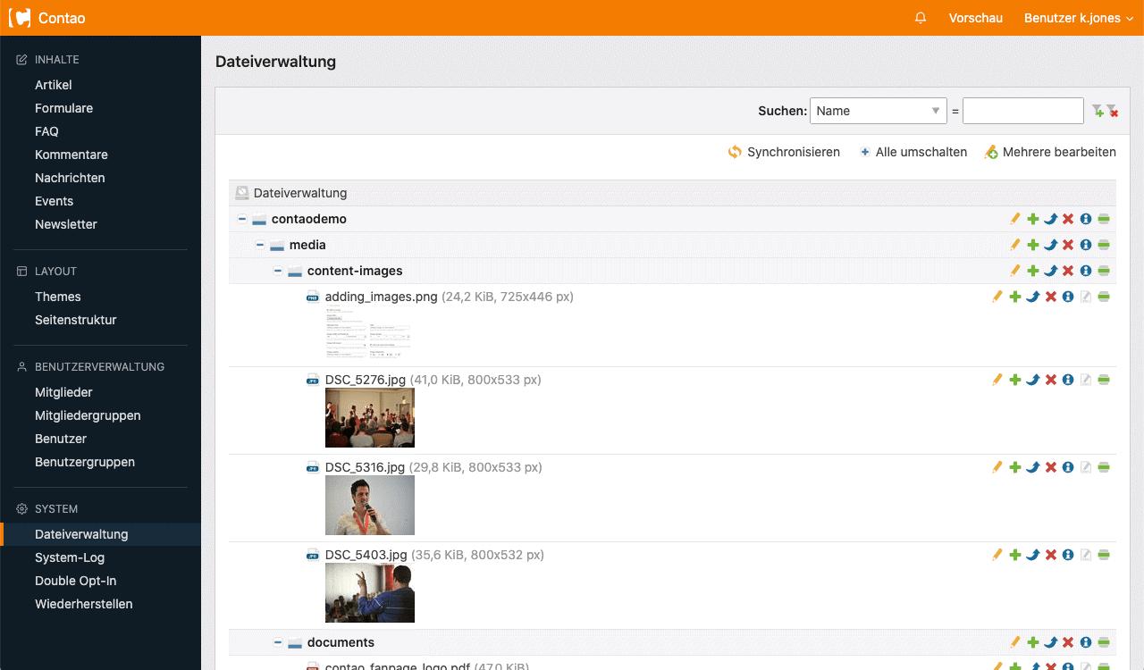 Contao Dateiverwaltung