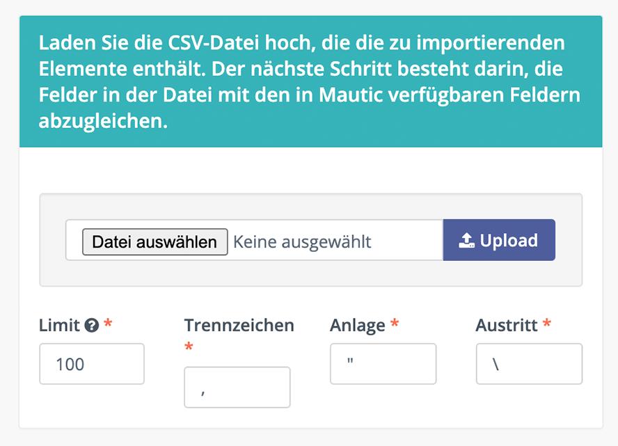 CSV-Datei hier hochladen