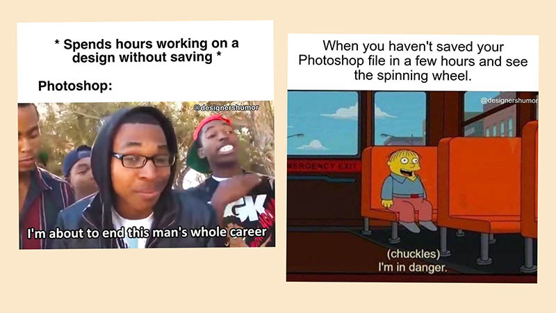 Memes zum bekannten Abstürzen von Photoshop - Quelle @designershumor auf Instagram