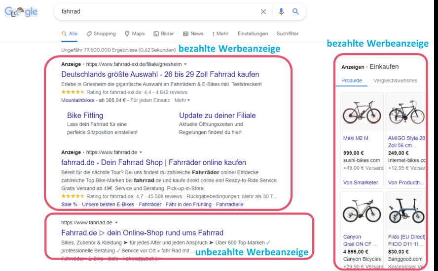 Search Engine Ads_Beispiel_Fahrrad