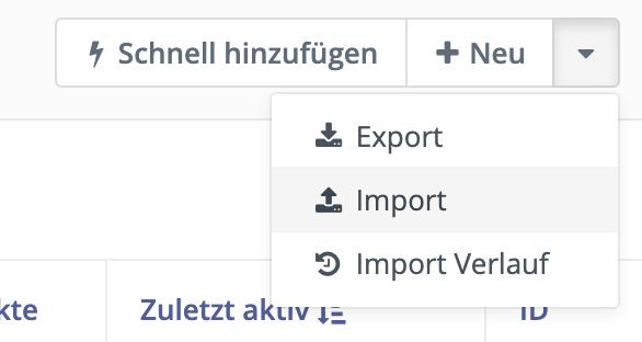 Klicke Export, um Kontakte in CSV Datei zu übertragen