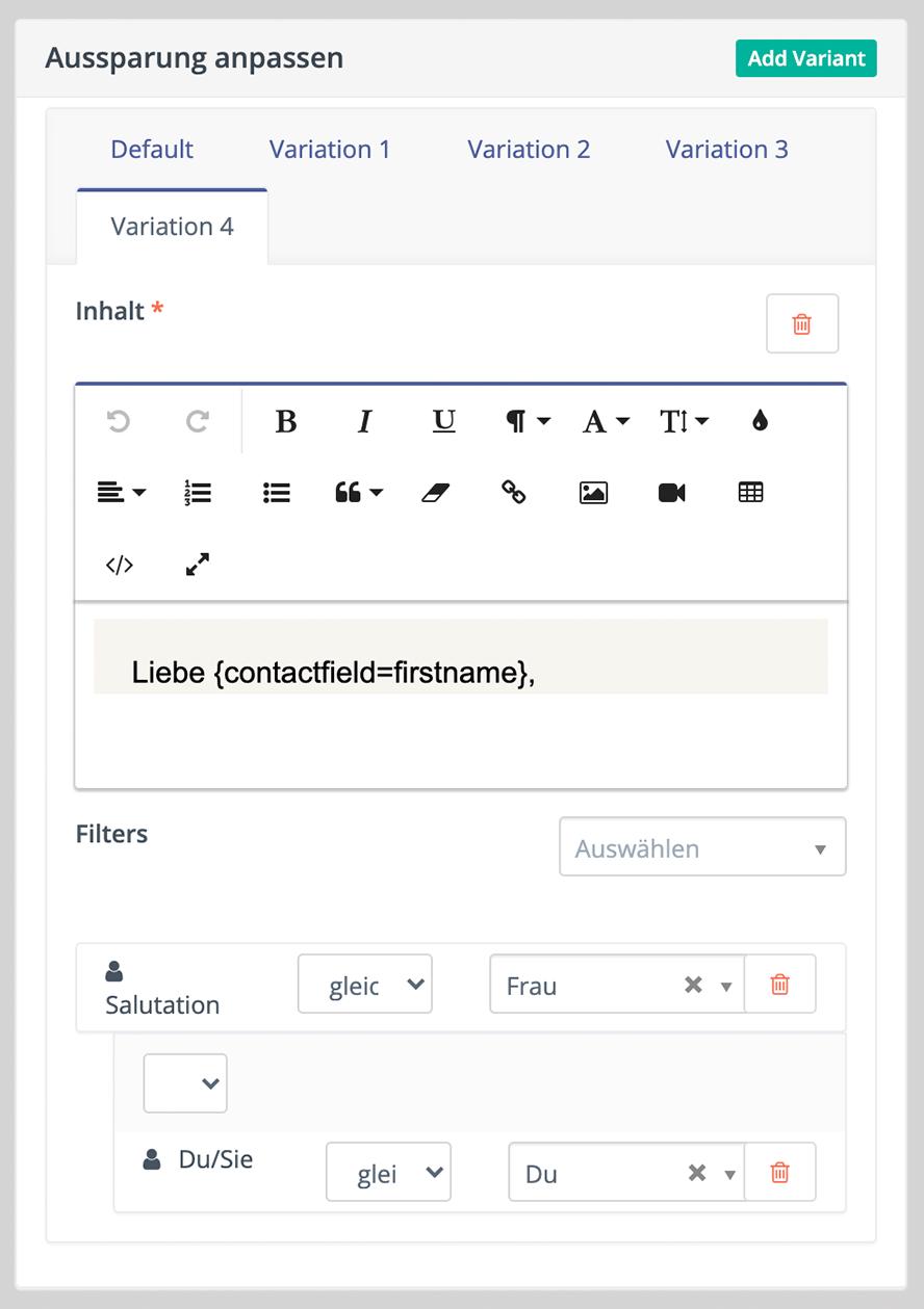 Dynamische Inhalte – Inhaltsvariante 4