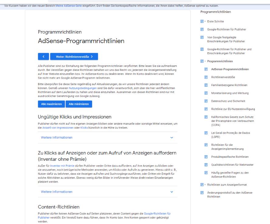 AdSense Programm Richtlinien