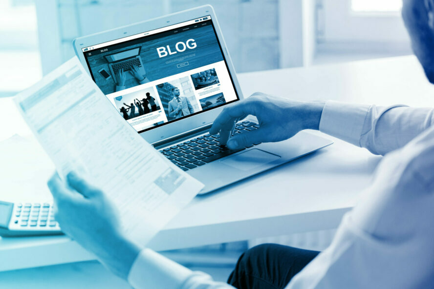 Business,,Blogging,,Technology,And,People,Concept,-,Businessman,With,Internet