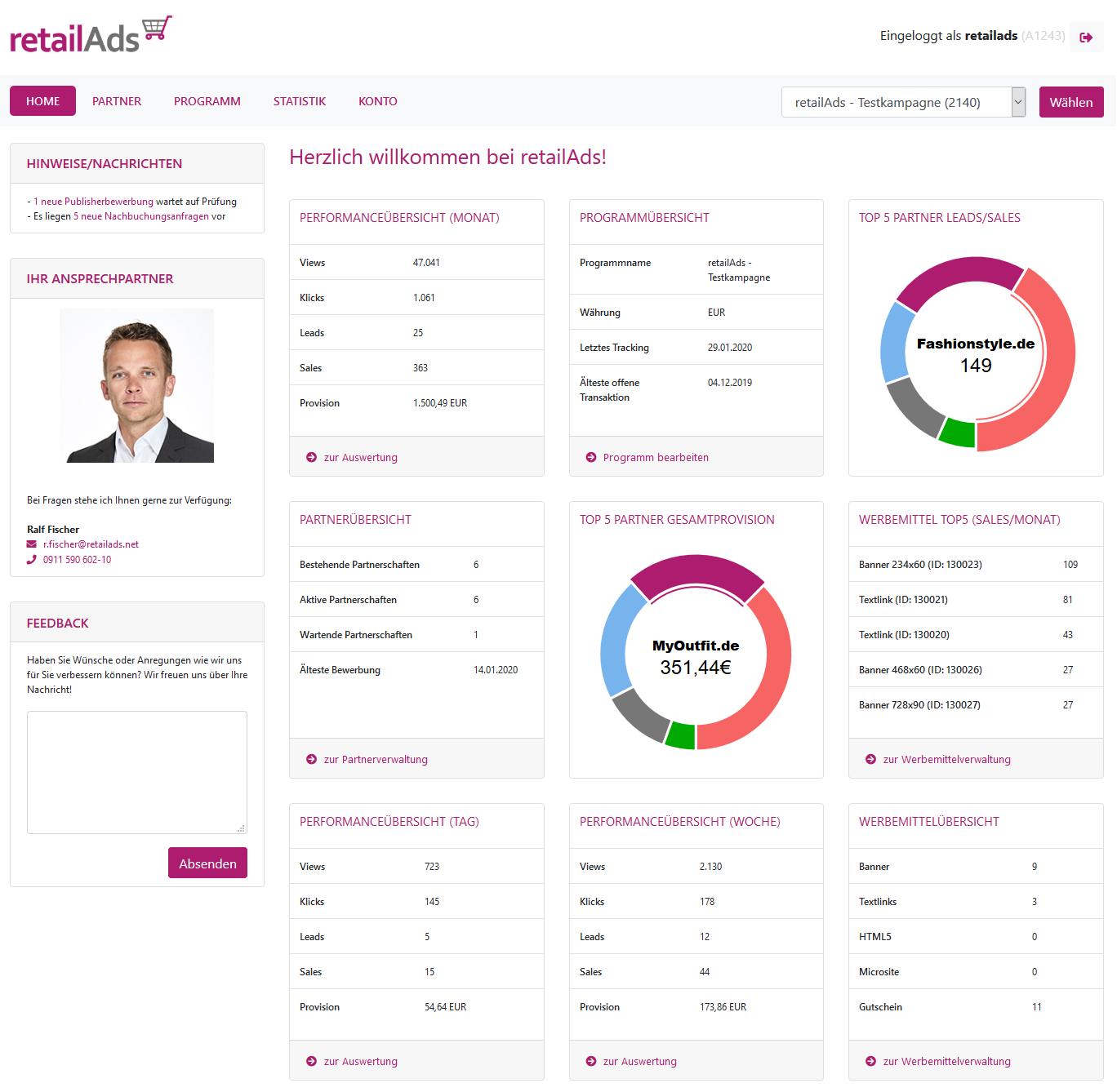 retailAds-Advertiser-Startseite