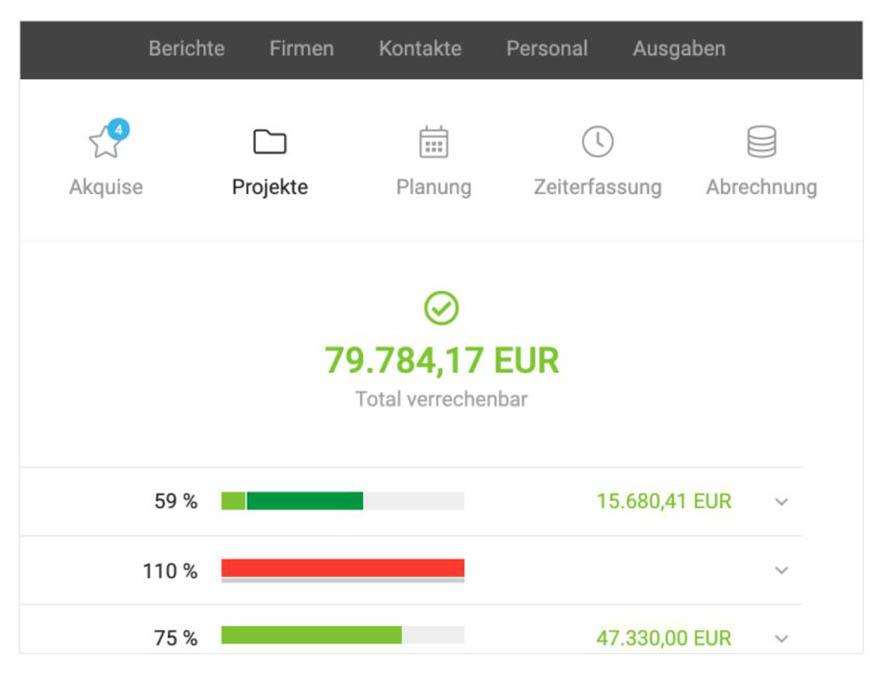 Moco ERP-System Screenshot Webseite
