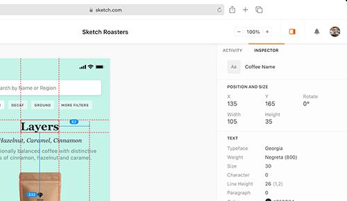 Sketch Benutzeroberfläche