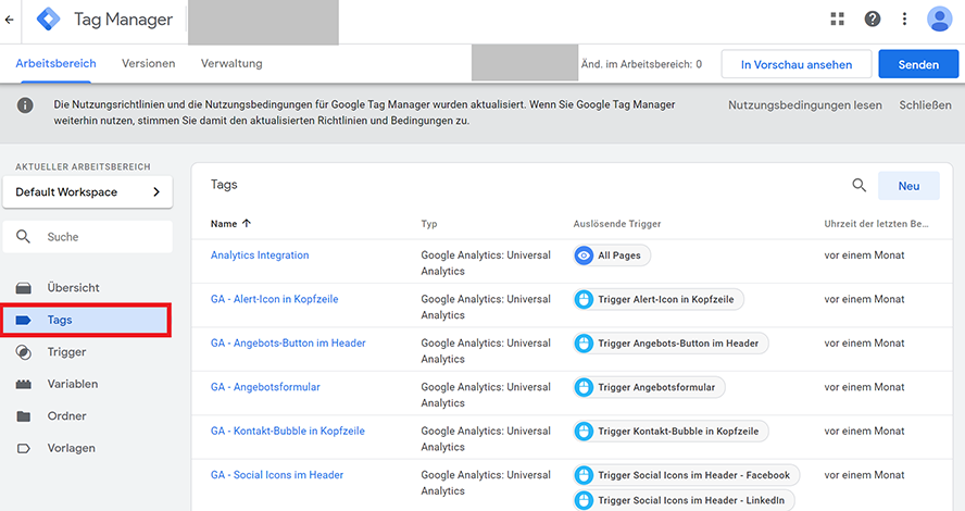 Tags im Google Tag Manager