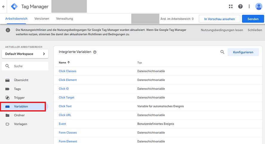 Variablen im Google Tag Manager