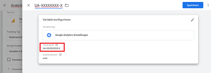Variable Google Analytics-Einstellungen