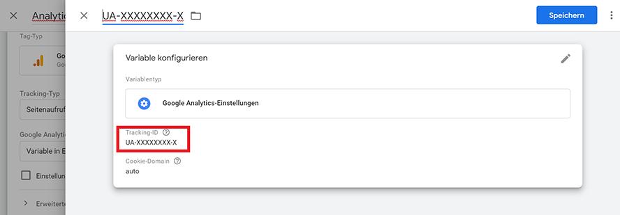 Variable Google Analytics-Einstellungen
