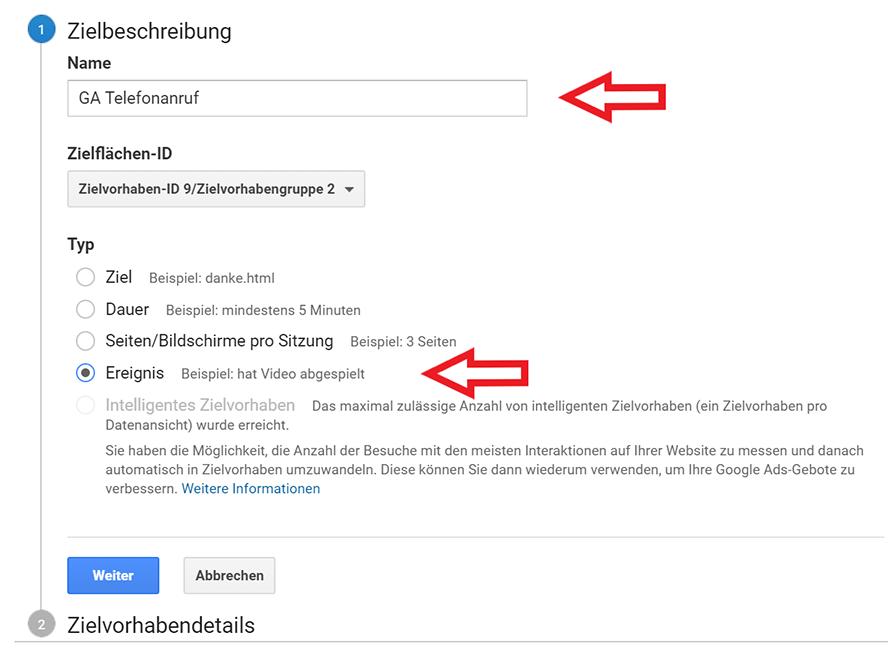 Google Analytics Zielbeschreibung