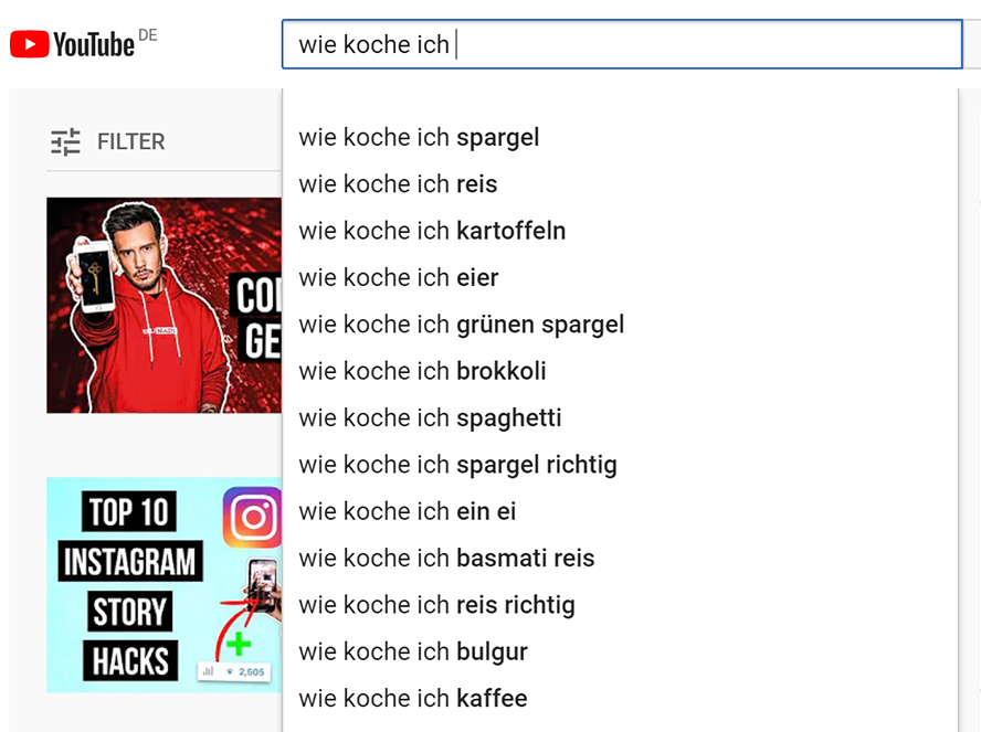 Autofill bei YouTube Suche OMT