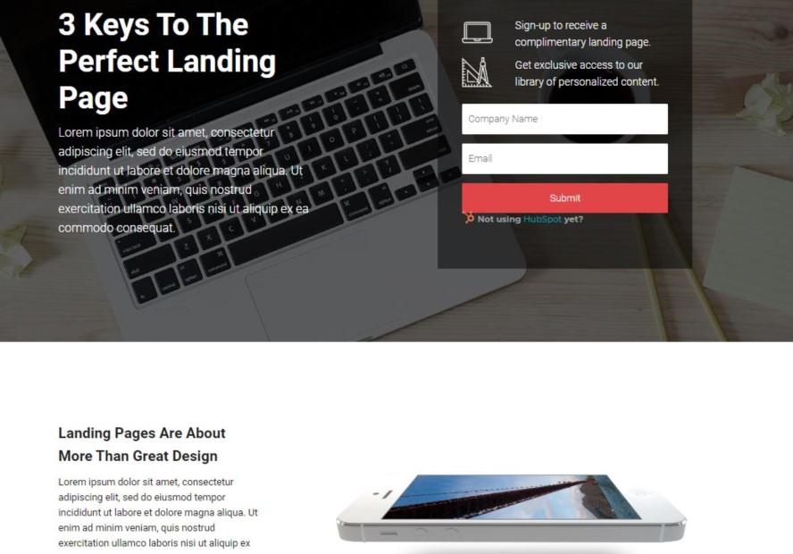 """Auf dieser Beispiel-Landing-Page ist das Formular """"above the fold"""" sichtbar. Wenn ein Besucher sich jedoch mit den Informationen der Landing Page beschäftigen möchte, wird dasselbe Formular nochmal am Ende der Landing Page platziert."""
