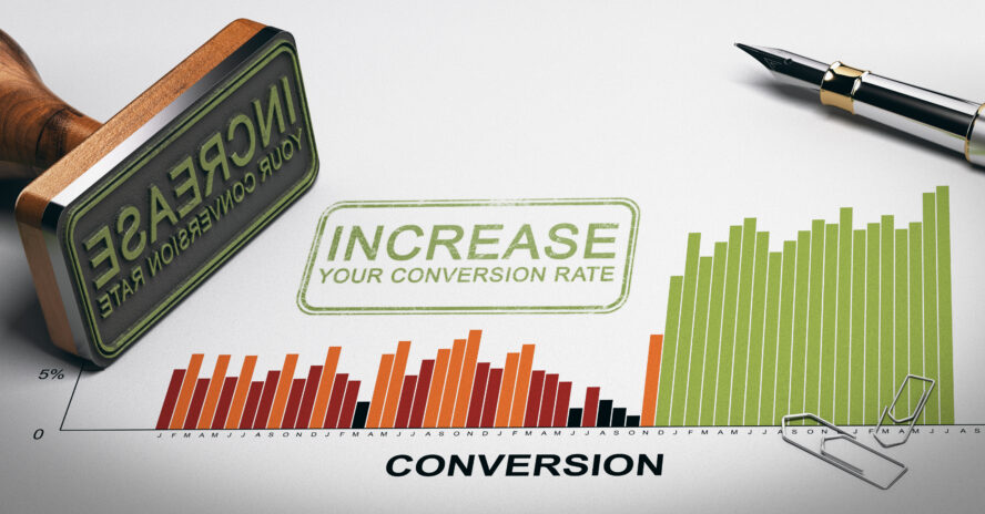 Paper,Sheet,With,Conversion,Rates,Statistics,,Rubber,Stamp,And,Slogan