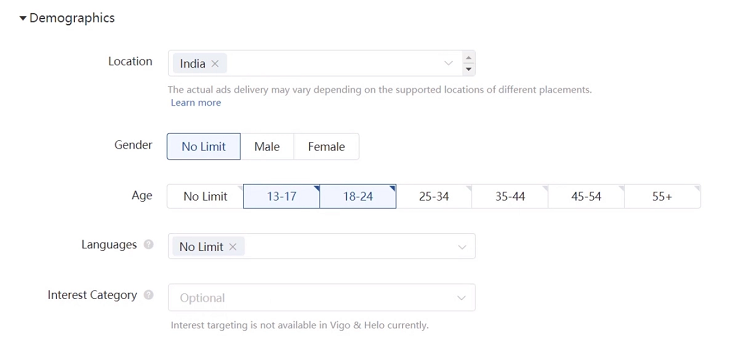 TikTok Ads Standard Targeting (Flyeralarm.digital)