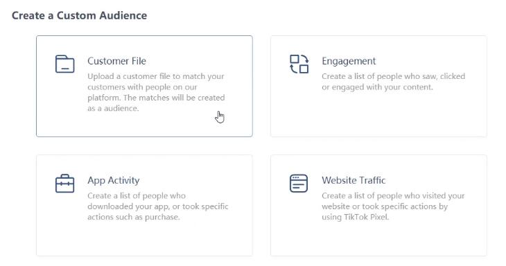 TikTok Custom Audience Möglichkeiten (TikTok Business Help Center)