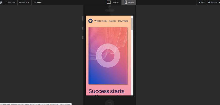 Unbounce Preview der mobilen Variante