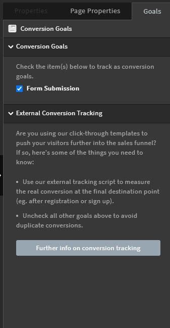 Unbounce Ziele per Conversion Goals messen