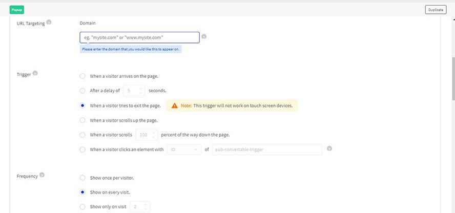 Unbounce Targeting mit URL-Optionen