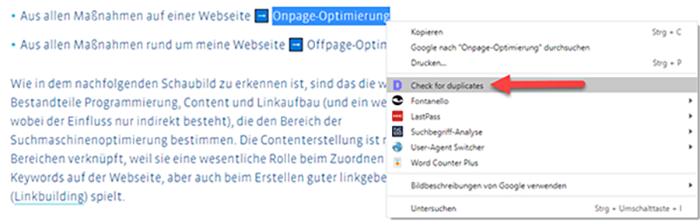 Check for duplicates nutzen um interne Verlinkungsmöglichkeiten zu finden