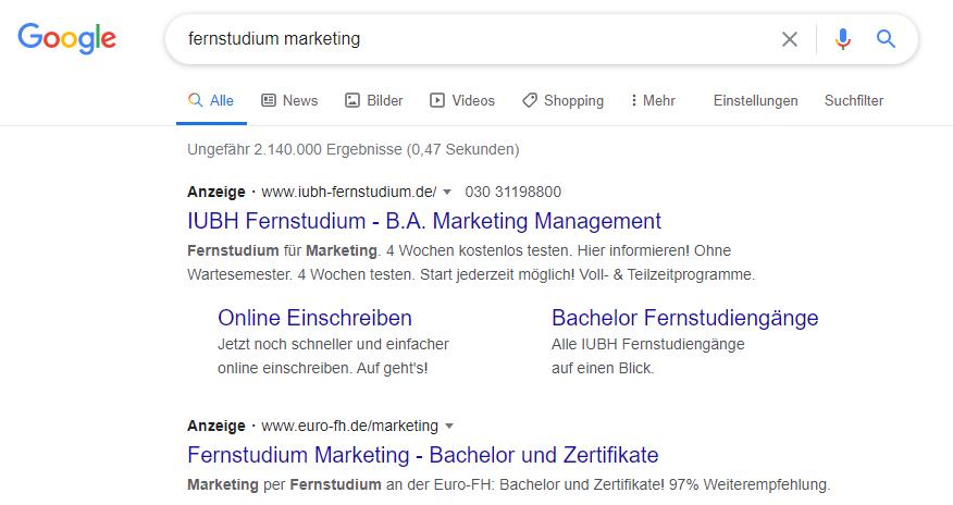 Beispiel für Google Ads in der Google-Suche