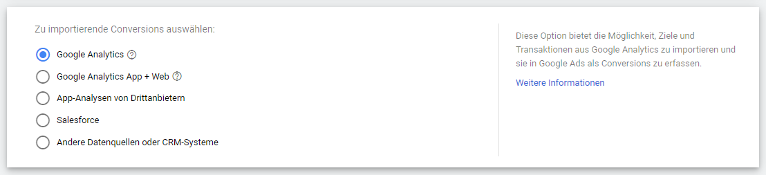 Neue Conversion-Aktion anlegen - Google Analytics