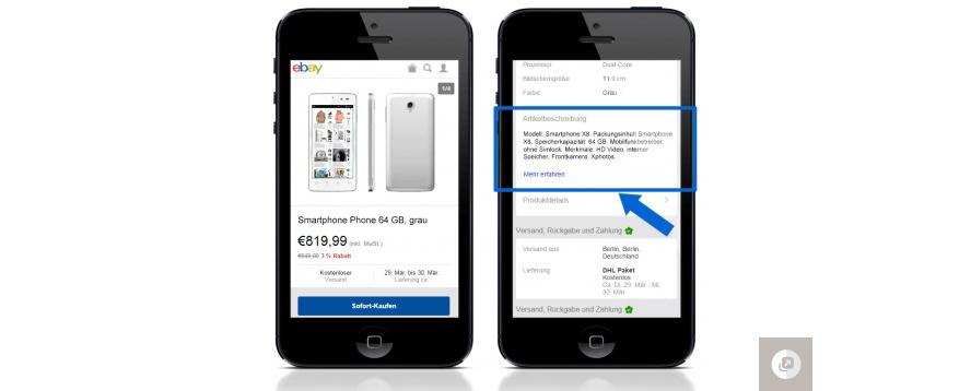 Abbildung 3: eBay generierte mobile Kurzbeschreibung - eBay.de