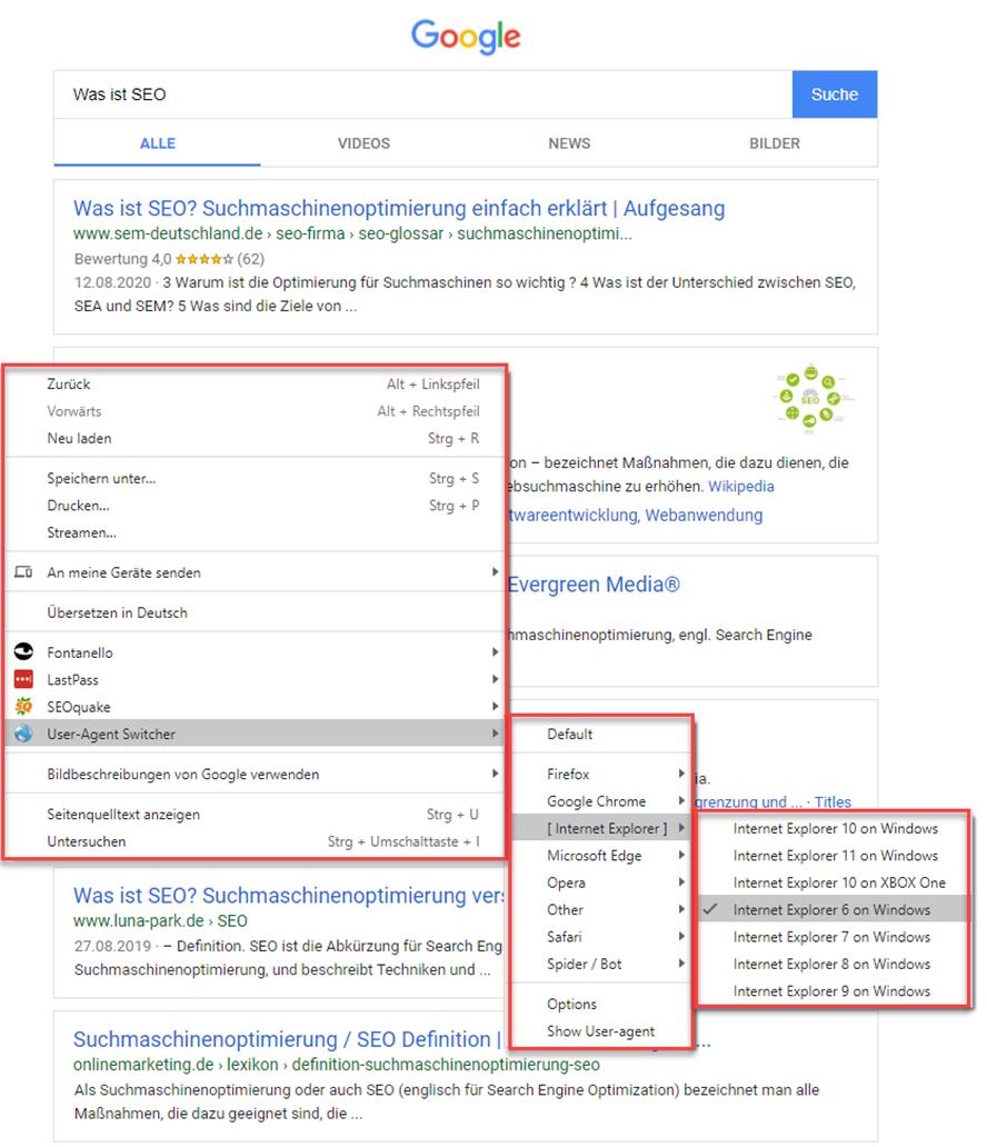 Mit dem User-Agent Switcher andere Browser imitieren