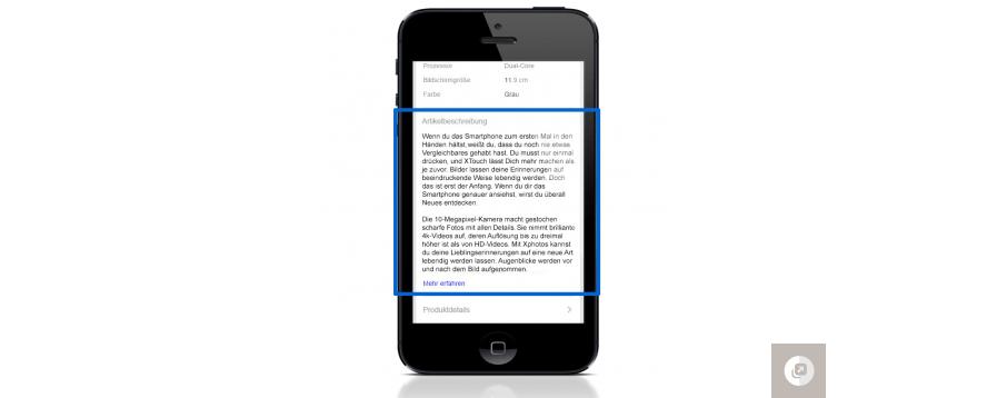 Abbildung 4: Verkäufer-definierte mobile Kurzbeschreibung – eBay.de
